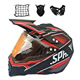 MRDEAR Casco Motocross con Visera (Negro y Rojo/ 4Pcs) Casco Cross Hombre Adulto con Guante/Mascarilla/Red Elástica, Casco Enduro Integral MTB Descenso Scooter Racing Motocicleta Quad Downhill,XL