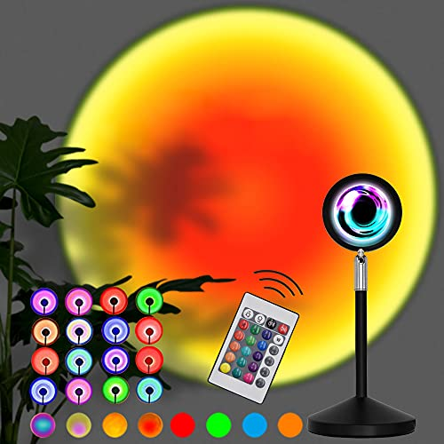 Sunset Lamp, 16 Colors Sunset Projection Lamp with Remote, Multiple Colors Night Light for Living...