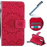 Ysimee Coque LG G3 Mini, Étui Portefeuille Magnétique en Cuir Fleur en Relief Folio Housse Con...