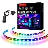 Tira de RGBIC LED direccionable, Speclux tira de luz de arco iris con imán y adhesivo de doble cara, 5V 3pines ADD RGB, compatible con Asus Aura, Asrock RGB Led, Gigabyte RGB Fusion, MSI Mystic Lights
