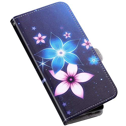 QPOLLY - Funda de piel para Xiaomi Redmi Note 9 Pro con diseño, flores