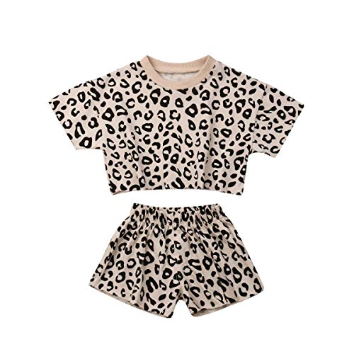 LAJIFENLEI Infant Toddler Baby Girl Leopard Outfits Short Sleeve T-Shirt Top Leopard Shorts Summer Clothes Set, A-yellow, 6-12 Months