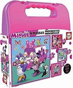 Educa - Minnie Happy Helpers, Maleta Progresivos, puzzle infantil de 12,16,20 y 25 piezas, a partir de 3 años (17638)