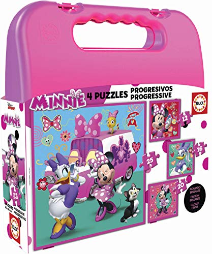 Educa - Minnie Ayudantes Felices Mickey and The Roadster Racers Maleta con Puzzles Progresivos, Multicolor (17638)