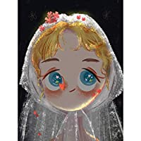 DIYダイヤモンドラインストーン塗装キット 漫画の女の子A12 ラウンドフルダイヤモンド刺繍アート絵画の壁の装飾-(12x16インチ)