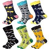 Calcetines coloridos para hombre – calcetines de vestir de algodón con diseño innovador, estilo informal, 6 pares Serie Animal Talla única