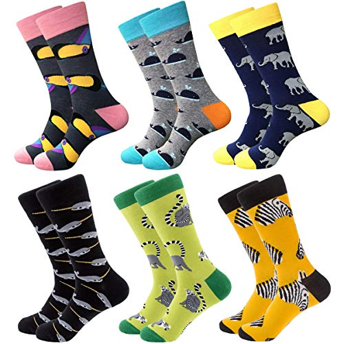 Divertidos calcetines coloridos para hombre, calcetines de algodón de estampados alegres con diseño innovador, estilo informal, 6 pares