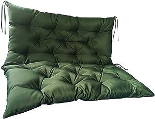 Cojín de Asiento de Banco de jardín, Cojines de Banco de 3 plazas, Respaldo de cojín, cómodo sofá de jardín para Columpio de Banco de Patio al Aire Libre (120 * 100 * 10 cm, Verde)