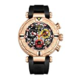 Reef Tiger Top Brand Mens Sport Watches Chronograph Rose Gold Skeleton Watches...