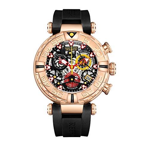 REEF TIGER Herren Uhr analog Quartz mit Kautschuk Armband RGA3059-S-PBBR