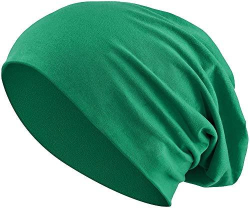 Balinco Jersey Baumwolle elastisches Long Slouch Beanie Unisex Mütze Heather in 35 (3) (Dark Green)