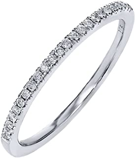 Gem Stone King Classic 10K White Gold Round Diamond Half-Way Wedding Band Ring