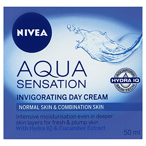 NIVEA Aqua Sensation Invigorating, Moisturising Day Cream with Hydra IQ & Cucumber Extracts for Normal & Combination Skin 50ml