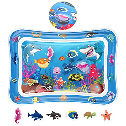 Tummy Time Baby Water Play Mat - Infant Inflatable Tummy Time Toy Play Mat Water Play Mat for 3 6 9...