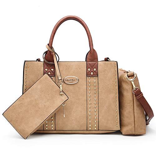 Women Designer Vegan Leather Handbags Fashion Satchel Bags Shoulder Purses Top Handle Work Bags (3pcs 0620W Khaki)