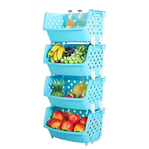 wangxike Gemüse Obst Regal mit 4 Körben, Stapelbar Kunststoff Obstkorb Gemüsekorb Aufbewahrung Obstregal Gemüseregal Küchen - 36 X 29 X 88CM