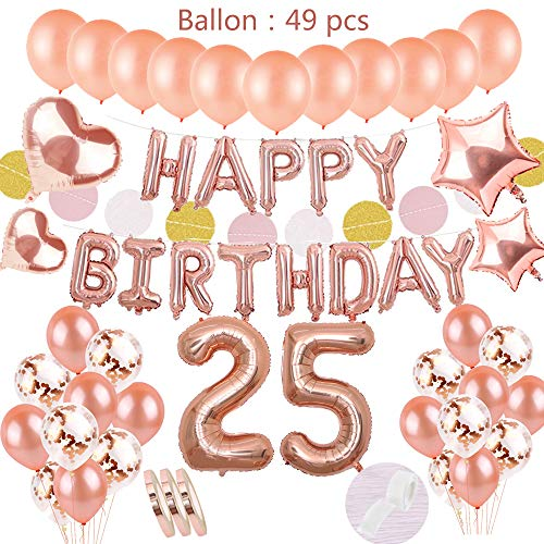 54Stück 25. Geburtstagsdeko Rosegold Set:Helium Folienballons Happy Birthday Banner &Ballons Zahl 25&20 Latex Ballons &10 Konfetti Luftballon &4Stern Herz Ballon für Mädchen Tochter Geburtstag Party