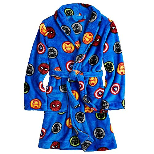 Boy's Hulk, Iron Man, Spidey, Black Panther Fleece Bathrobe, Size 10