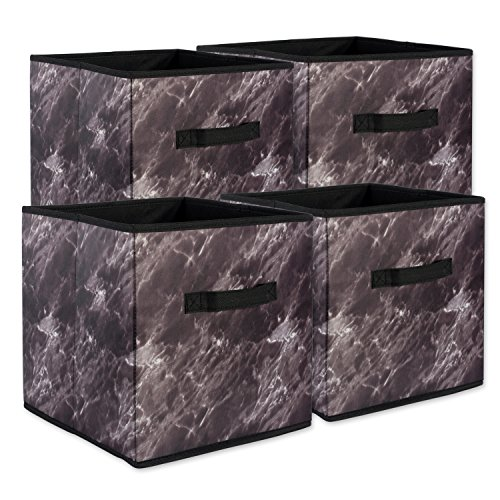 Dii Lot de 4 paniers à linge carrés pliables en polyester Marbre noir