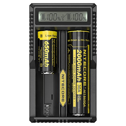 NiteCore PS Hunters Display LCD DigiCharger D4 Caricatore Universale Intelligente per Batteria Li-Ion IMR LiFePO4 Ni-MH Ni-CD