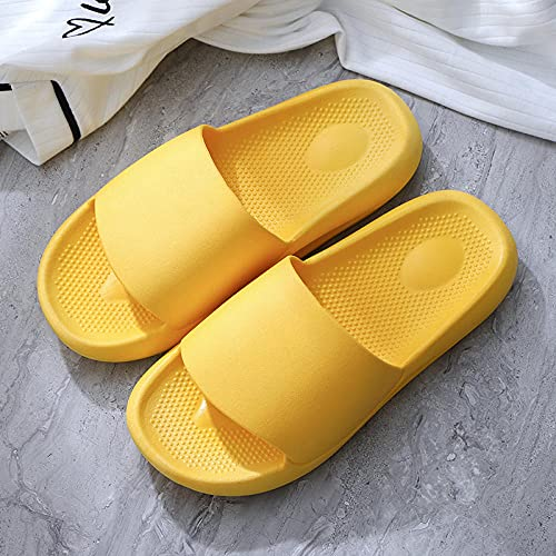 ypyrhh Zapatillas para mujeres y hombres de secado rápido, zapatillas antideslizantes para el hogar, parte inferior suave arrastrar-amarillo_38/39, cómodo piscina playa
