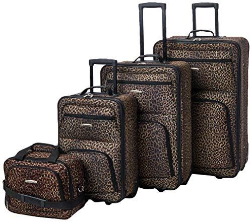 Rockland Jungle Softside Upright Luggage Set, Leopard, 4-Piece (14/29/24/28)