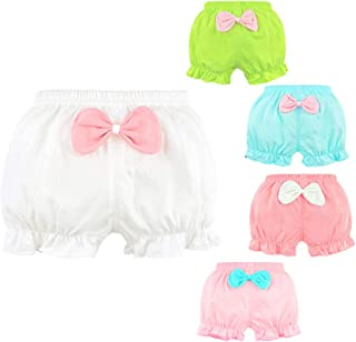 Baby Girls' Toddler Cotton Bloomers Ruffle With Bow Diaper Covers Briefs Underwear Set for Infant Kids Girls 5-Pack