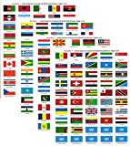 Made in The USA! United Nations Sticker Set with Country Name; 1.5' x 1' Self Adhesive Stickers for Every International Country in The United Nations Plus 7 UN Stickers, 200 Sticker Flags Total.