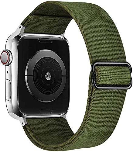 VISOOM Stretchy Bands Compatible with Apple Watch 38mm/40mm/42mm/44mm-Apple Watch Strap for iWatch Series 6/SE/5/4/3/2/1 Accessories Elastics Sports Replacement for Men Women (ArmyGreen, 38mm/40mm)
