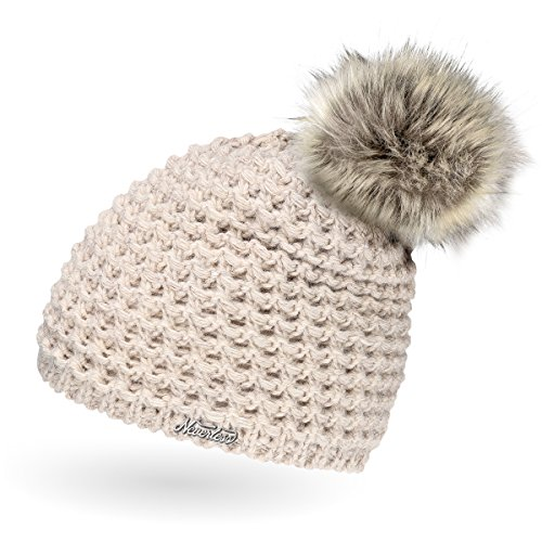 Neverless Damen Strickmütze mit Fell-Bommel und Fleece gefüttert, Kunstfell, Winter-Mütze, Bommelmütze, hell-beige Unisize