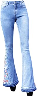 Women Floral Embroidered Flare Jeans Elastic Waist Bell Bottom Denim Pants