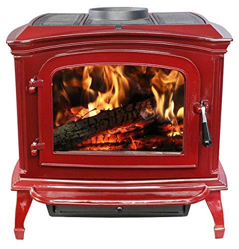 Ashley Hearth Products Ashle Red Enameled Porcelain Cast Iron Wood Stove