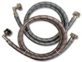 Premium Stainless Steel Washing Machine Hoses with 90 Degree Elbow, 12 Ft Burst Proof (2 Pack) Red and Blue Striped Water Connection Inlet Supply Lines - Lead Free …