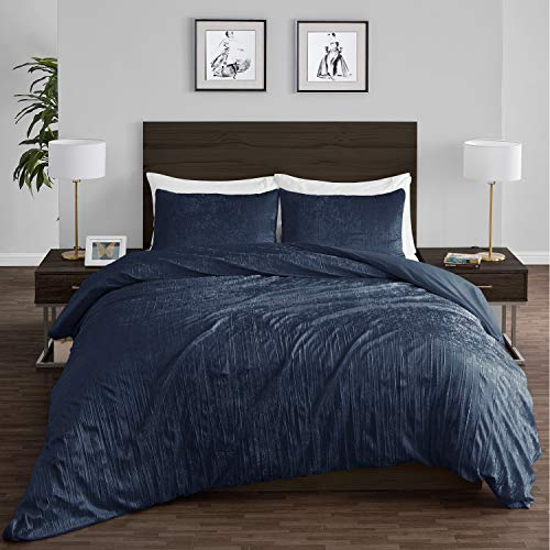 Crushed Crinkle Velvet Royal Navy Blue Metallic Crush Boho Chic Textured Glam Duvet Comforter Cover and Sham 3p Full Queen Size Bedding Set Solid Shiny Luxury Modern Bohemian Teen Bed Bedspread Quilt