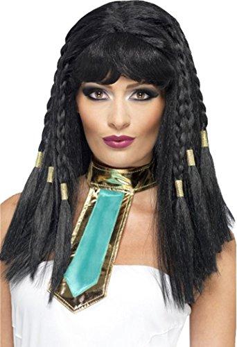 Legends & Mythen Fancy Jurk Party Cleopatra Pruik Zwart Gevlochten Met Goud Trim