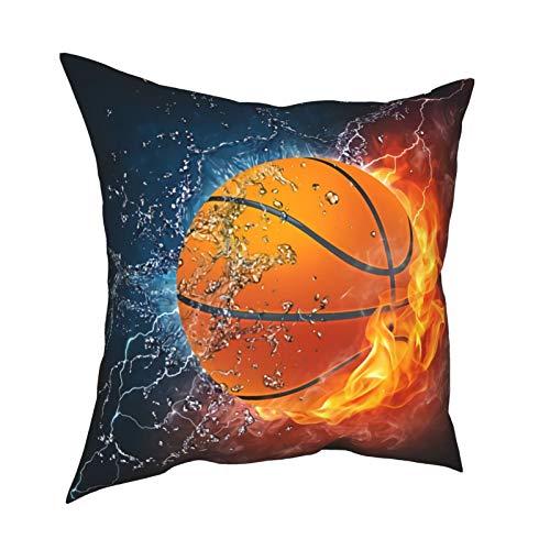 Feamo Funda de cojín para cojín de baloncesto, sudor, satén, cuadrada, decoración del hogar, para sala de estar, dormitorio, sofá, silla, 45,7 x 45,7 cm