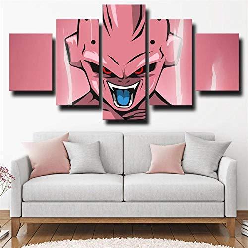Gtart Mehrteilige Wandbilder Groß Bild Leinwand Bilder Wohnzimmer Modern Wandbilder Kunstdrucke Leinwandbilder XXL 5 Teilig Wandbild Schlafzimmer Majin Buu Pink Poster