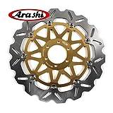 Arashi Rotores de disco de freno delantero para MOTO GUZZI V7 II RACER ABS 750 2015 / V7 II SPECIAL ABS 750 2015 / V7 II STONE ABS 750 2015 Accesorios para motocicletas Oro