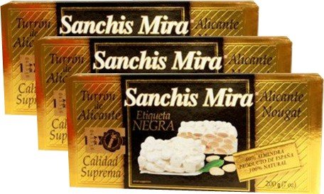 Sanchis Mira Turron de Alicante 7 oz Just arrived from Spain Pack of 3