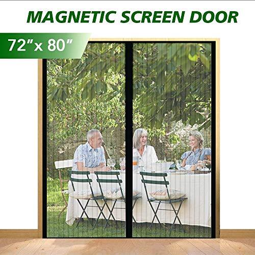 eMaxtree Upgraded Fiberglass Magnetic Screen Door Mesh Curtain, Self Closing Fly Screen Curtain Mosquito Screen Door Net for Porch, Doorway, Garage - Fits Doors up to 70 x 79 Inches