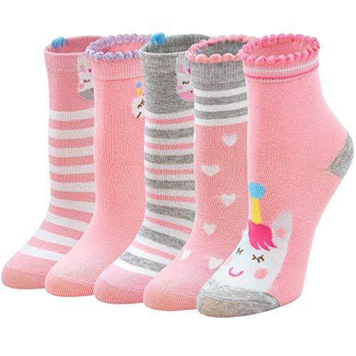 PUTUO Kinder Socken Bunte Mädchen Einhorn Socken Baumwolle, Witzige Socken Kinder Sneakersocken Lustige Tier Socken Mädchen Strümpfe, 5-7 Jahre