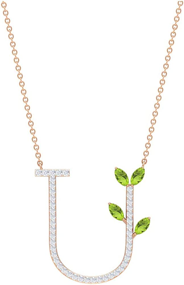 Letter U Pendant, 3/4 CT Peridot and Diamond Pendant, HI-SI Diamond Initial Letter Pendant, 4X2 Marquise Cut Necklace