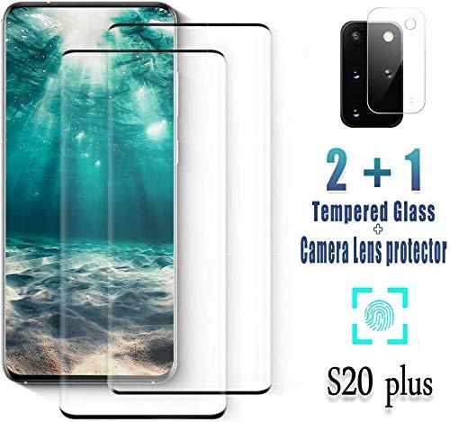 FQDDZ Panzerglas Schutzfolie für Samsung Galaxy S20+ / S20 Plus [2 Stück],+Linse Schutzfolie, 3D Vollständige Abdeckung, 9H Härte, Anti-Kratzen für Samsung Galaxy S20+ / S20 Plus, (6.7