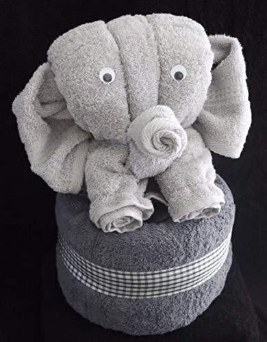 Elefant als Handtuch-Tier in silbergrau auf anthrazit, Handtuchfigur