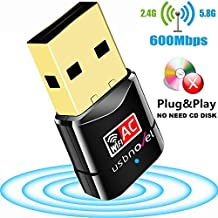 USB Wifi Adapter AC600Mbps USBNOVEL Dual Band 2.4G / 5G Wireless Wifi Dongle Network Card for PC Laptop Desktop Win10/8/8.1/7/Vista/XP/2000, Mac OS X 10.6-10.13,No CD Needed,Upgraded