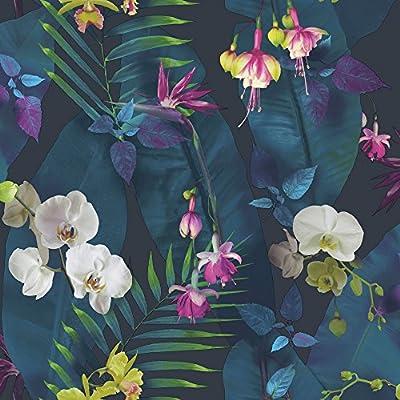 Una hermosa floral Themed Papel Pintado Características elevado brillante destacados 10m (32,8pies) de largo x 53cm (rendijas) de ancho 26,5cm patrón de repetición Papel de alta calidad