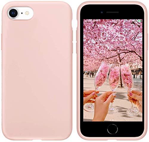 """IcecSword - Custodia in silicone per iPhone SE [aggiornata 2a generazione], cover per telefono in gel di silicone liquido, antiurto, protezione da cadute 2020 (4.7"""") iPhone SE - Sabbia rosa."""