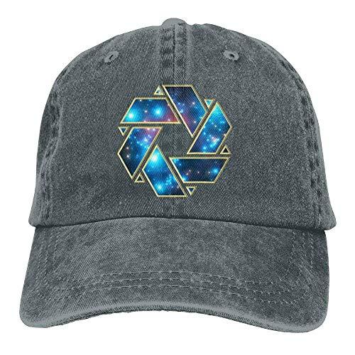 Presock Crop Circle Galaxy Denim Hat Adjustable Women's Fitted Baseball Hat