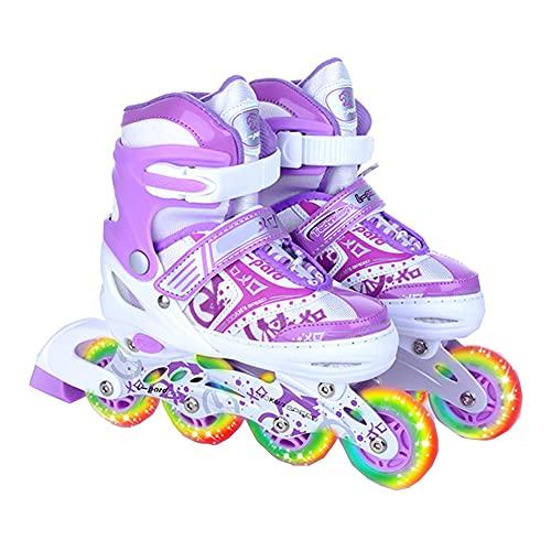 Patines para Niños, Patines Ajustables Quad Roller Skates All Wheels Light Up Rollerskates para Niños Y Principiantes,A,L