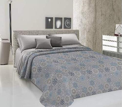 CIRANOCASA Tagesdecke Frühling Sommer Doppelbett 260 x 280 Kreise hellblau Baumwolle Piquet Jacquard Made in Italy SX